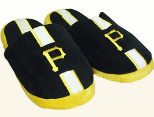 Pittsburgh Pirates Team Stripe Slide Slippers - Large