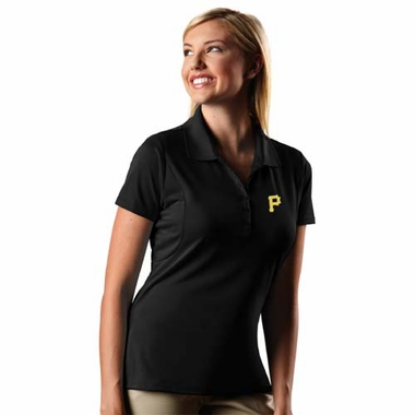 Pittsburgh Pirates Womens Pique Xtra Lite Polo Shirt (Color: Black)