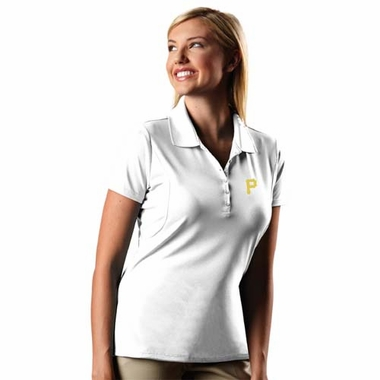 Pittsburgh Pirates Womens Pique Xtra Lite Polo Shirt (Color: White)