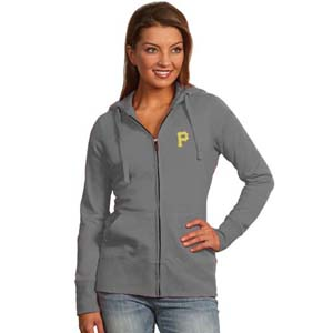 Pittsburgh Pirates Womens Zip Front Hoody Sweatshirt (Color: Gray) - X-Large