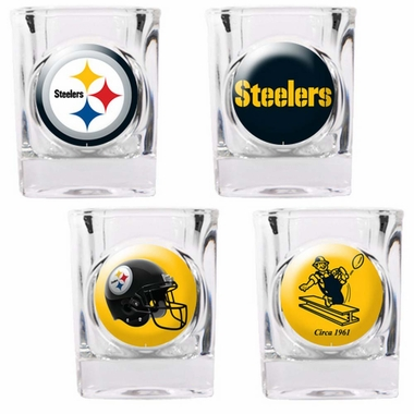 Pittsburgh Steelers 4 Piece Assorted Shot Glass Set
