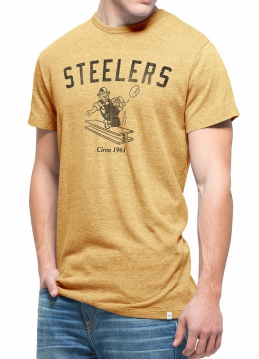 Pittsburgh steelers 47 brand vintage gold tri state Premium t shirt brands