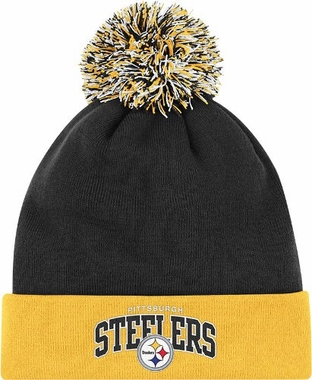Pittsburgh Steelers Arched Logo Vintage Cuffed Pom Hat