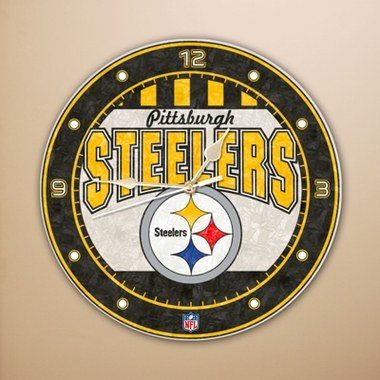 Pittsburgh Steelers Art Glass Clock