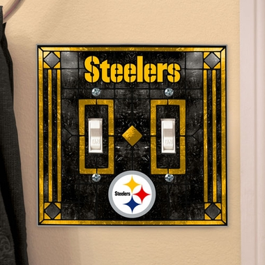 Pittsburgh Steelers Art Glass Lightswitch Cover (Double)