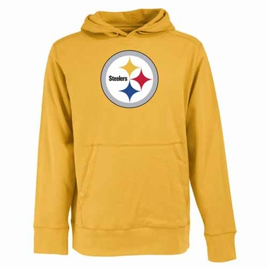 Pittsburgh Steelers Mens Big Logo Signature Hooded Sweatshirt (Color: Gold)