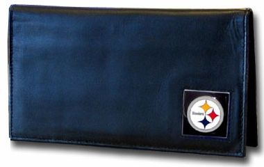 Pittsburgh Steelers Black Leather Checkbook Cover (F)