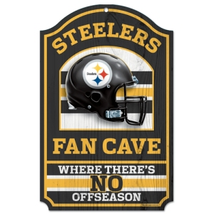 "Pittsburgh Steelers Wood Sign - 11""x17"" Fan Cave Design"