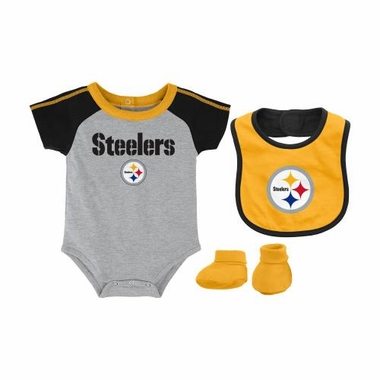 Pittsburgh Steelers Infant NFL 3 Piece Creeper Bib Bootie Set