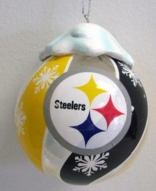 Pittsburgh Steelers Light Up Glass Ball Ornament