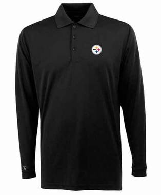 Pittsburgh Steelers Mens Long Sleeve Polo Shirt (Color: Black)