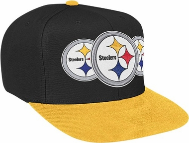 Pittsburgh Steelers Mitchell & Ness NFL Triple Stack Logo Snap Back Hat