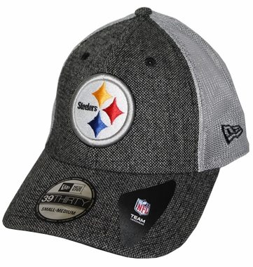 Pittsburgh Steelers New Era 39THIRTY Scholar Stretch Fitted Hat - Gray