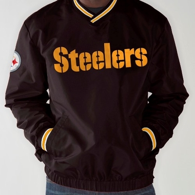Pittsburgh Steelers NFL Match-Up Wordmark Pullover Embroidered Jacket - Black