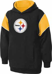 Pittsburgh Steelers NFL YOUTH Color Block Pullover Hooded Sweatshirt - Small