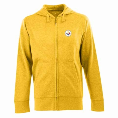 Pittsburgh Steelers Mens Signature Full Zip Hooded Sweatshirt (Color: Gold)