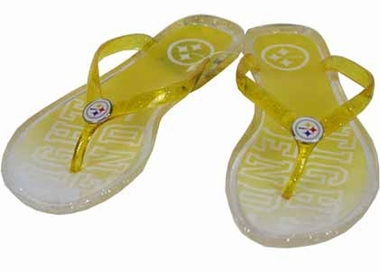 Pittsburgh Steelers Slogan Jelly Flip Flops - X-Large