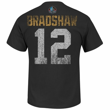 Pittsburgh Steelers Terry Bradshaw Majestic HOF Aggressive Speed T-Shirt - Black
