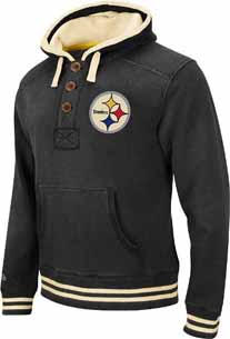 Pittsburgh Steelers Time Out 1/4 Button Hooded Heavyweight Sweatshirt - XX-Large