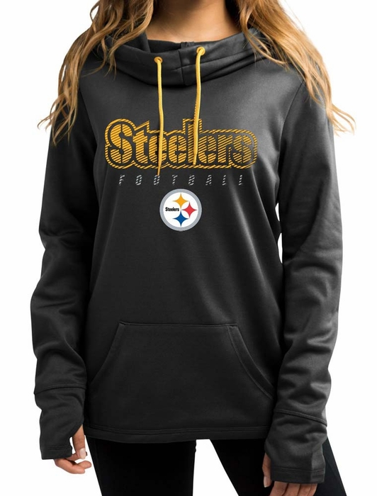 7589d8a27 Pittsburgh Steelers Women s Majestic Speed Fly Cowl Neck Hooded Sweatshirt