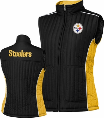 Pittsburgh Steelers Women's NFL Rally Full Zip Quilted Vest Jacket