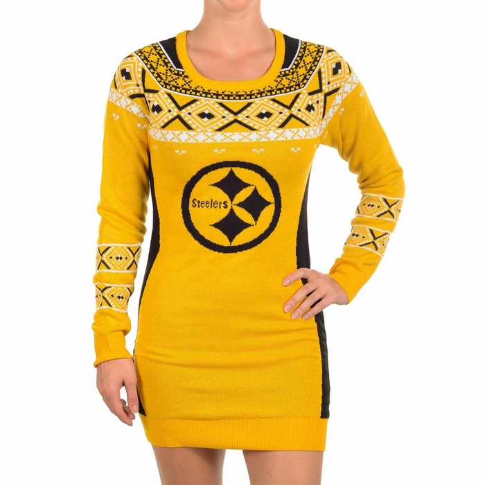 Pittsburgh Steelers Womens Big Logo Ugly Sweater Dress