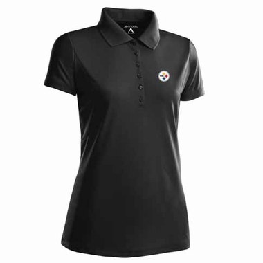 Pittsburgh Steelers Womens Pique Xtra Lite Polo Shirt (Color: Black)