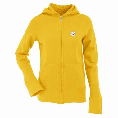 Pittsburgh Steelers Womens Zip Front Hoody Sweatshirt (Color: Gold)