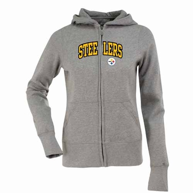 Pittsburgh Steelers Applique Womens Zip Front Hoody Sweatshirt (Color: Gray)
