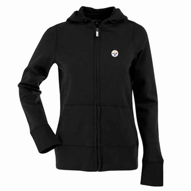 Pittsburgh Steelers Womens Zip Front Hoody Sweatshirt (Color: Black)
