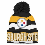 Pittsburgh Steelers Youth Flex Jacquard Cuffed Knit Hat w  Pom b8635bf8f607