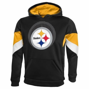 "Pittsburgh Steelers YOUTH NFL ""The Edge"" Pullover Hooded Sweatshirt - Black"