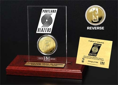 Portland Trail Blazers Portland Trail Blazers 24KT Gold Coin Etched Acrylic