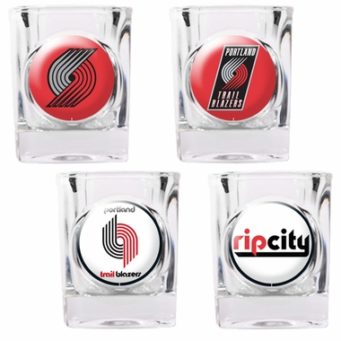 Portland Trailblazers 4 Piece Assorted Shot Glass Set