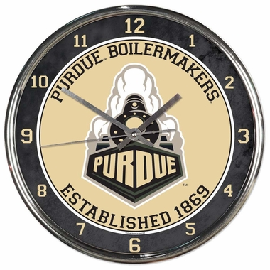 Purdue Boilermakers Round Chrome Wall Clock