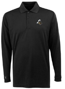 Purdue Mens Long Sleeve Polo Shirt (Color: Black) - Large