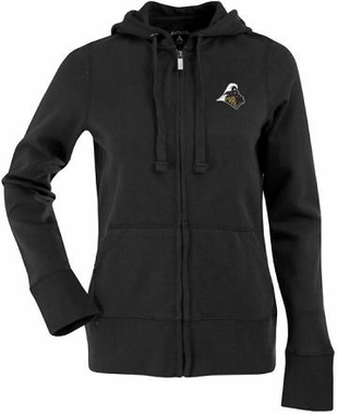 Purdue Womens Zip Front Hoody Sweatshirt (Color: Black)