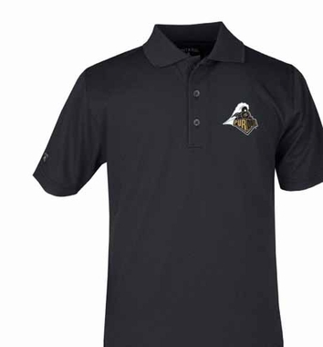Purdue YOUTH Unisex Pique Polo Shirt (Color: Black)