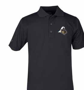 Purdue YOUTH Unisex Pique Polo Shirt (Color: Black) - Small
