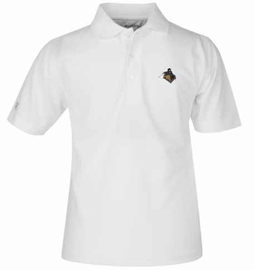 Purdue YOUTH Unisex Pique Polo Shirt (Color: White)