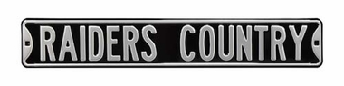 Raiders Country Black Street Sign