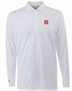 Rutgers Mens Long Sleeve Polo Shirt (Color: White)