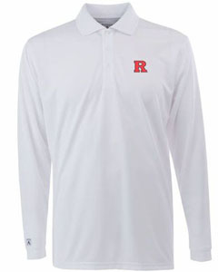 Rutgers Mens Long Sleeve Polo Shirt (Color: White) - Large