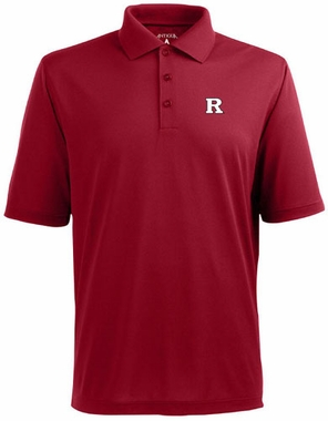 Rutgers Mens Pique Xtra Lite Polo Shirt (Color: Red)