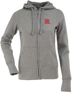 Rutgers Womens Zip Front Hoody Sweatshirt (Color: Silver) - Medium