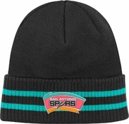 4952a7e6025 San Antonio Spurs Mitchell   Ness NBA Vintage Stockey Stripe Cuffed Knit Hat