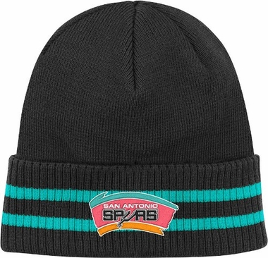 San Antonio Spurs Mitchell & Ness NBA Vintage Stockey Stripe Cuffed Knit Hat