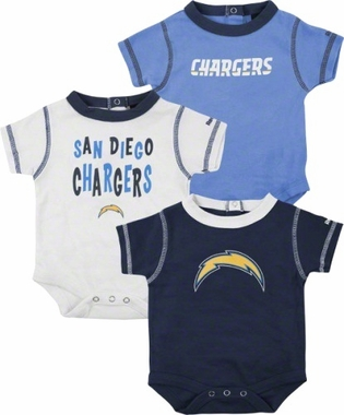 San Diego Chargers 3 Pack Creeper Set