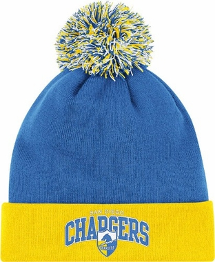 San Diego Chargers Arched Logo Vintage Cuffed Pom Hat