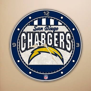 San Diego Chargers Art Glass Clock